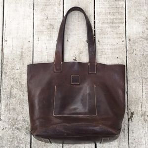 Frye company large leather tote vintage
